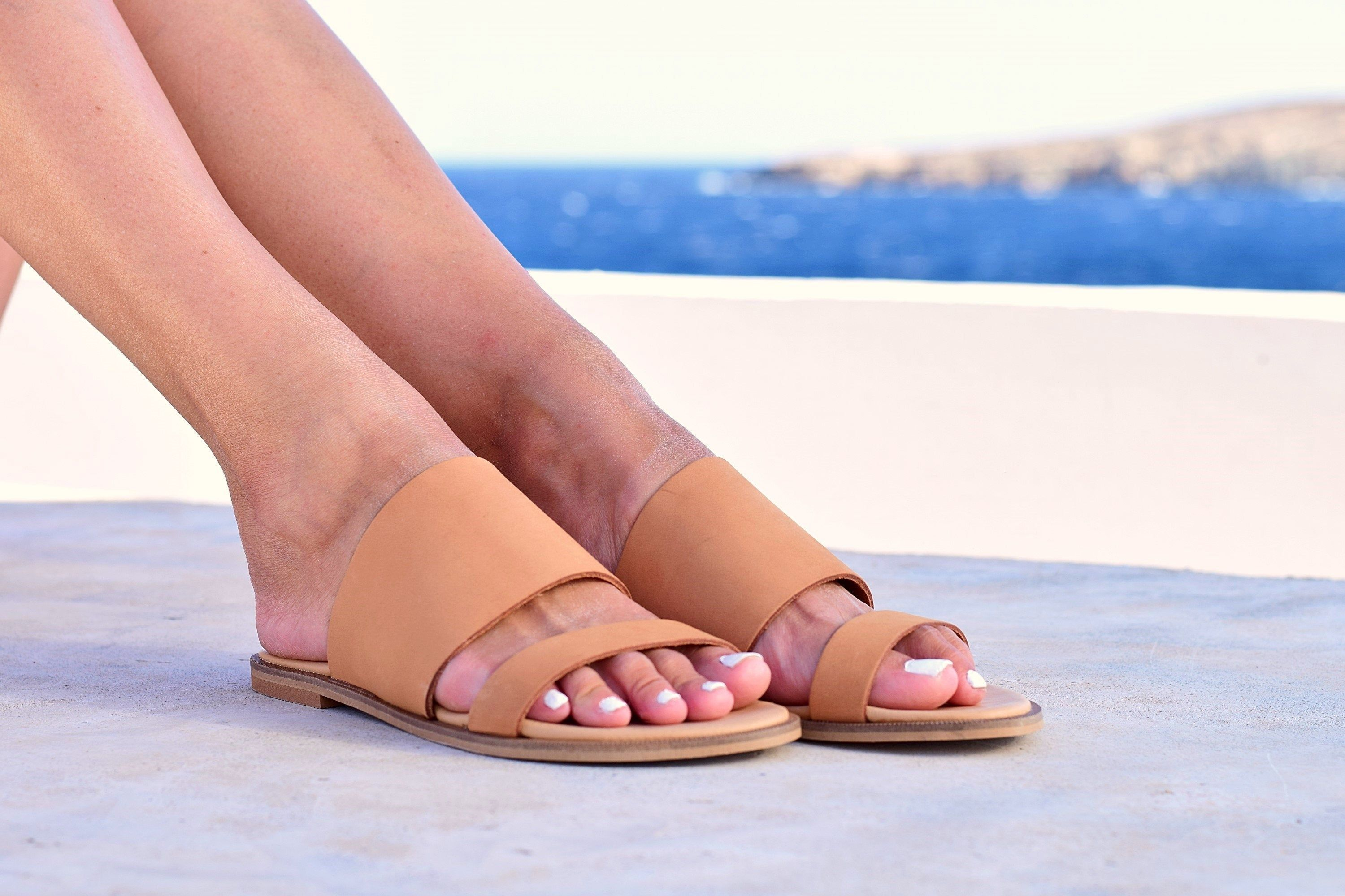 Nude Sandals for Women Nubuck Leather Sandals with Soft Anatomic Insole Greek Sandals Handmade of Nubuck Genuine Calfskin Leather.