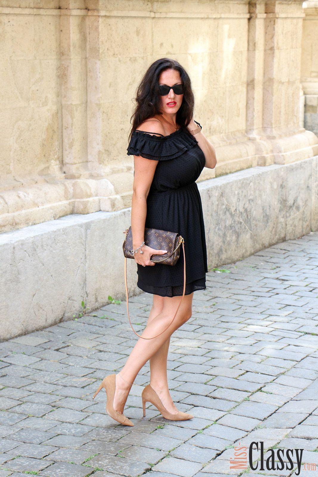 OUTFIT: Schwarzes OffShoulder Kleid, beige Pumps und Clutch von Louis Vuitton  Klassische