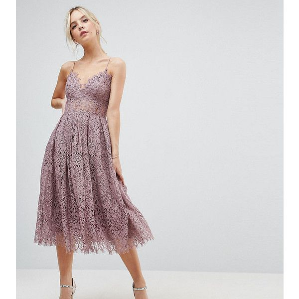 ASOS PETITE Lace Cami Midi Prom Dress (4,190 PHP) ❤ liked on ...