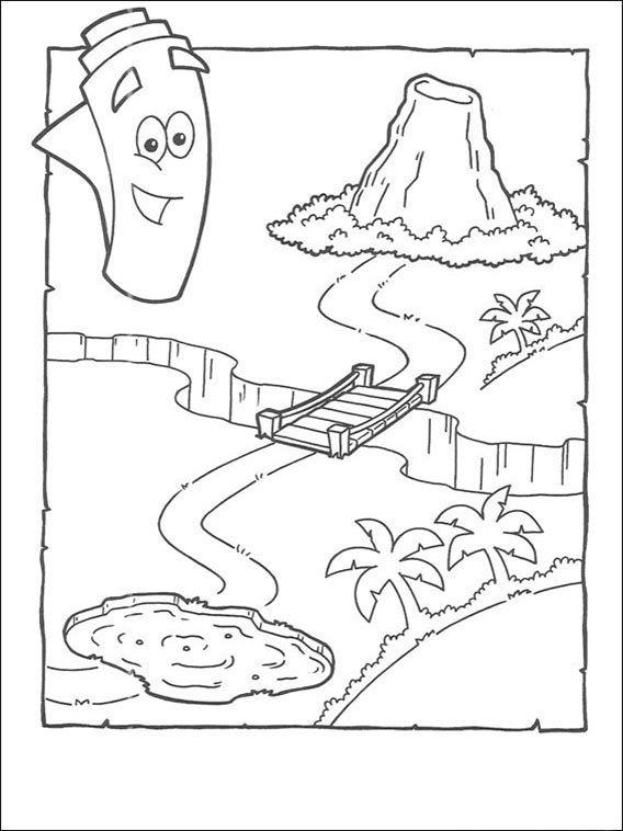 Dora The Explorer Coloring Pages 49 Explorer Birthday Party Dora Map Dora The Explorer