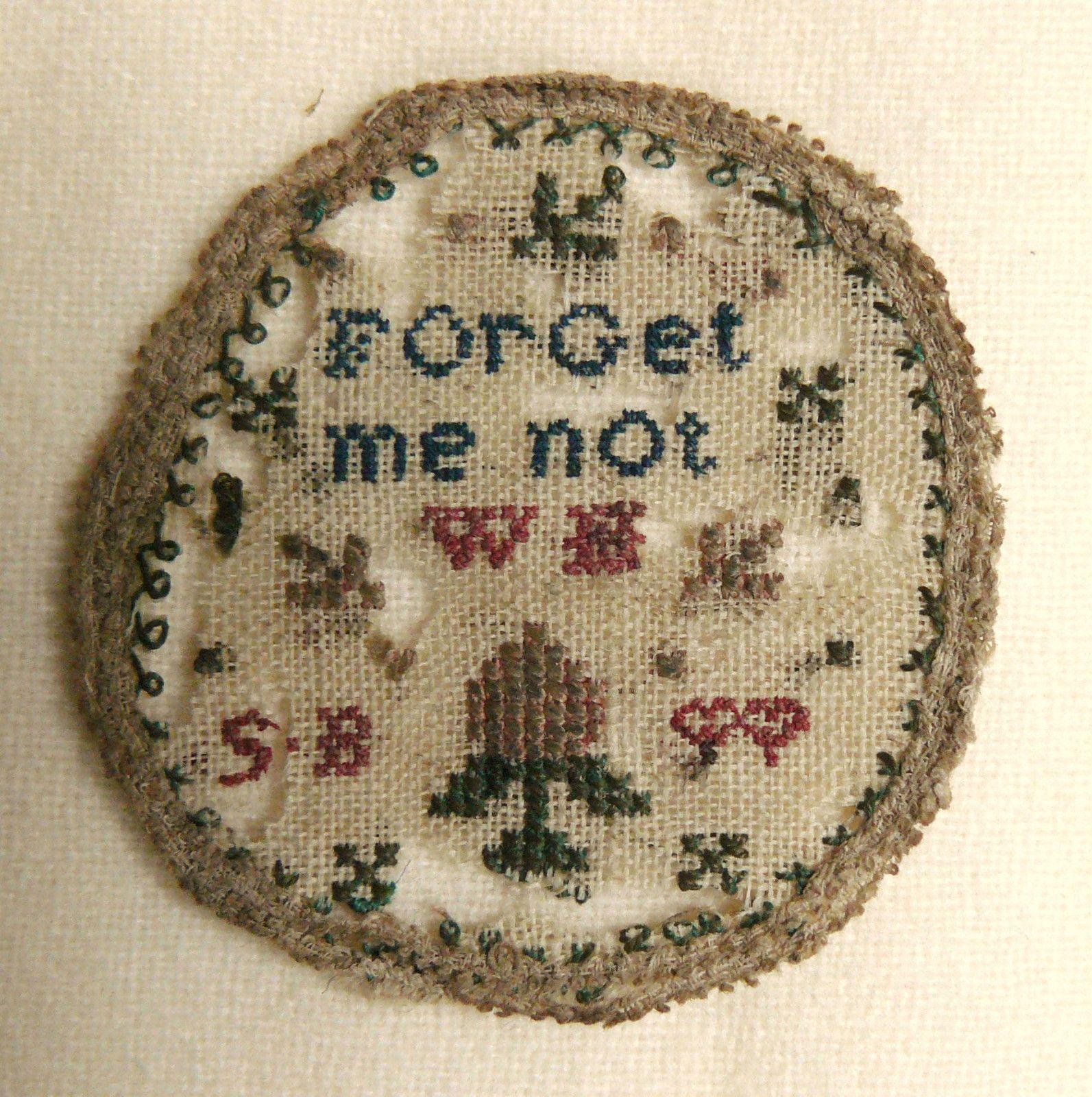 Antique georgian miniature pocket watch sampler love token