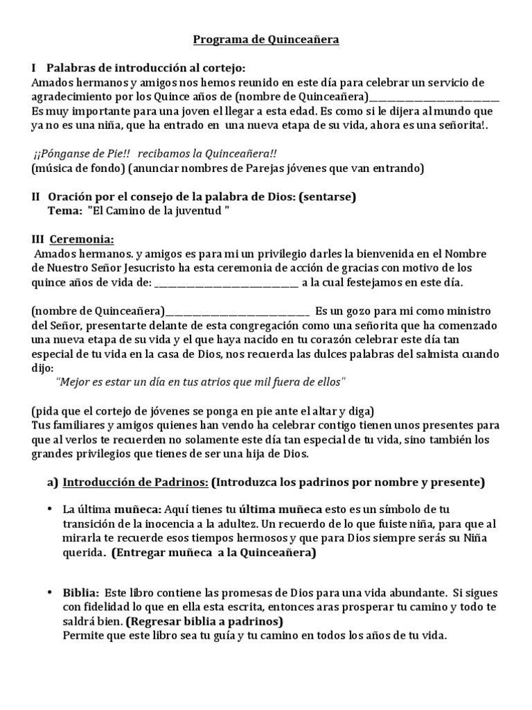 Ceremonia Programa De Quinceanera Download As Pdf File Pdf Text File Txt Or Read Online Quinceanera Planning Quinceanera Traditions Quinceanera