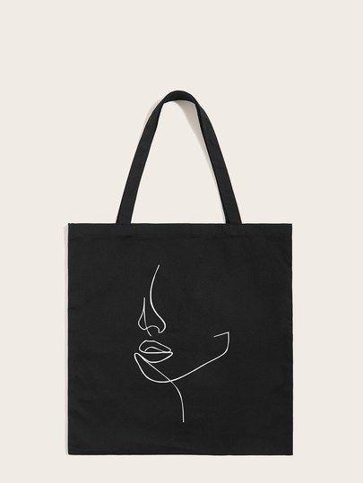 Abstract Figure Print Tote Bag