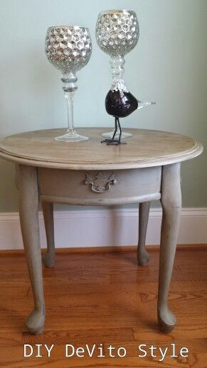 Elegant Queen Anne Style End Table Painted In Annie Sloan Chalk Paint French Linen  With Dark Wax