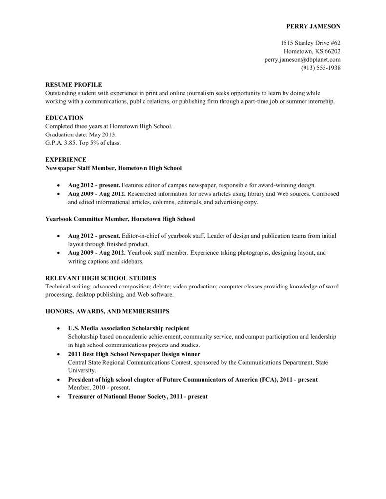 Resume Examples High School 2021 In 2021 Resume Template Examples Resume Examples High School Education