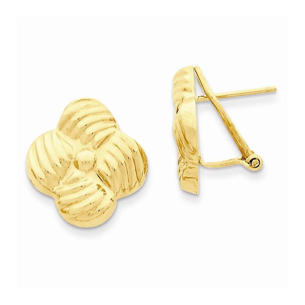 14k Polished Fancy Omega Back Post Earrings