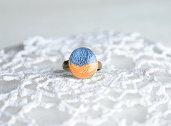 Little ring for a girl made from tree branch blue by MyPieceOfWood, $15.00