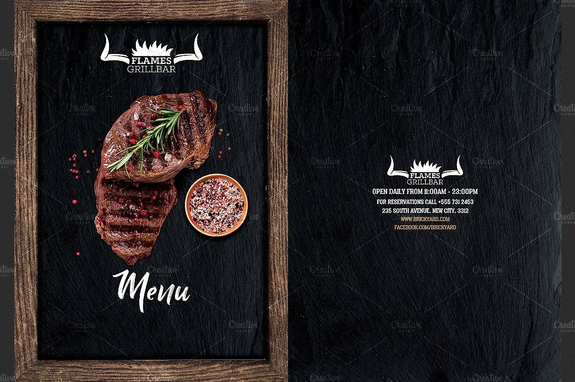 grill restaurant menu flyer template quot files size bleed