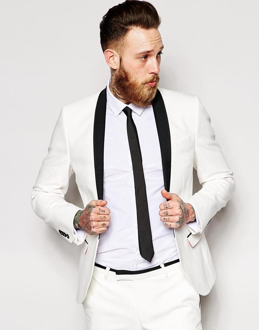 Classic Style One Button Ivory Groom Tuxedos Groomsmen Men\'s Wedding ...