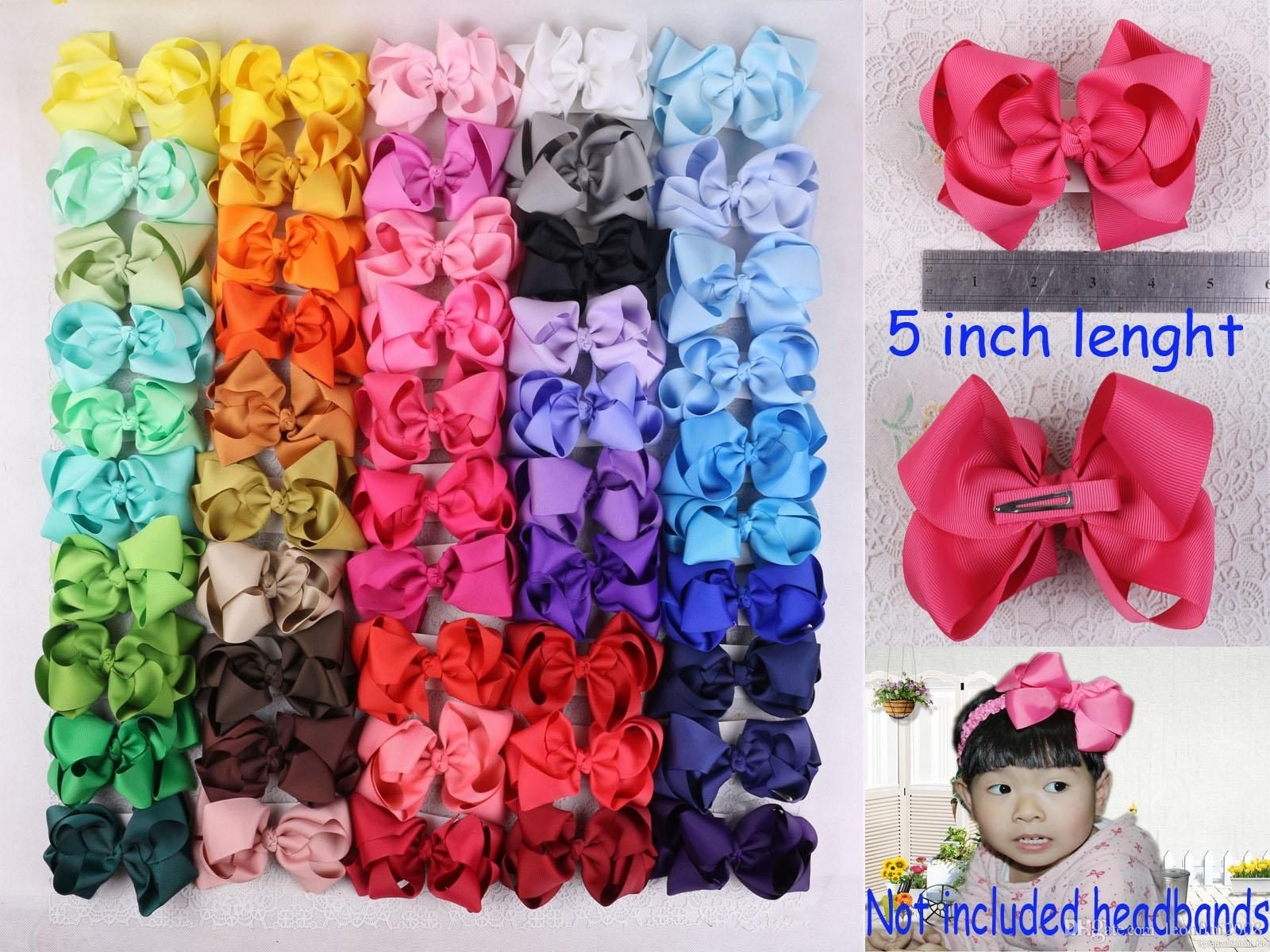 Big Hair Clips With Ribbon Bows For Girls Babies Children Kids Accessories New