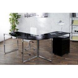 Bureau dangle 180 cm design en verre tremp noir avec pitement