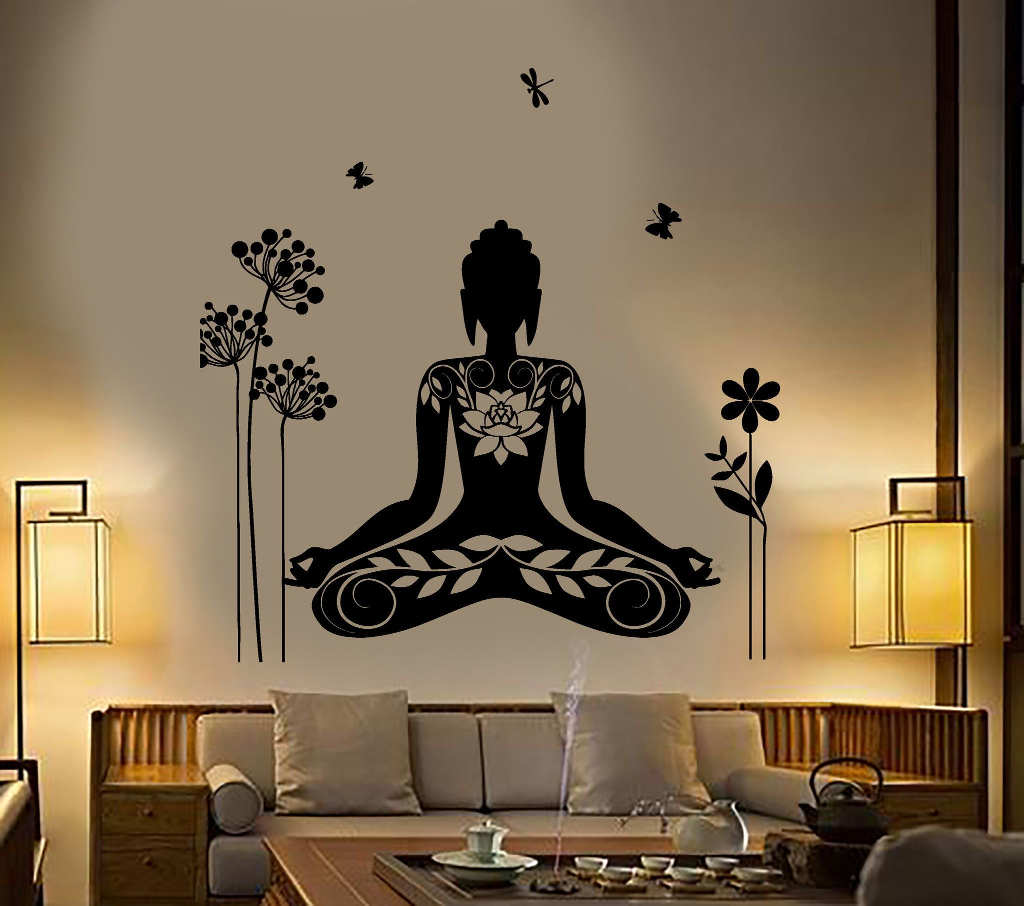 Buddha wall sticker meditation mantra flower butterfly yoga vinyl decal z2892
