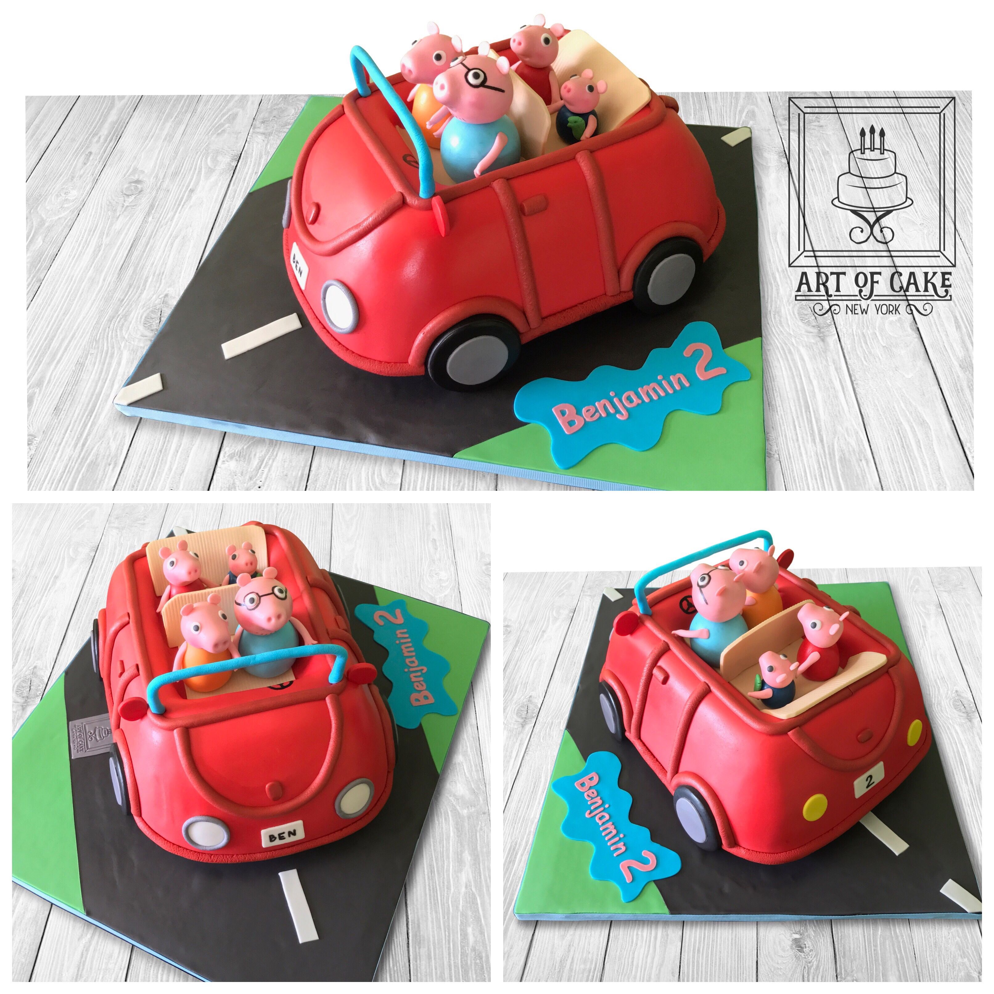 Peppa Pig Car Cake  Peppa pig birthday cake, Peppa pig birthday