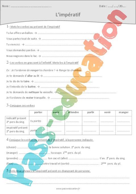 Imperatif Present Exercices A Imprimer 4eme Primaire Pass Education