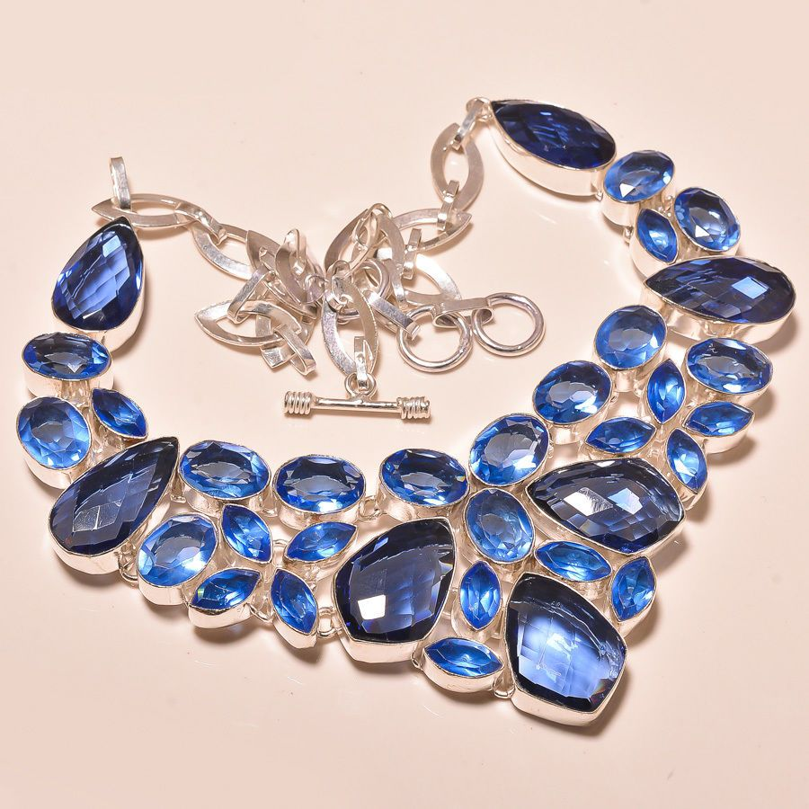 EXCLUSIVE FACETED TANZANITE QUARTZ ROYAL LOOK - 925 SILVER JEWELRY NECKLACE  #Choker