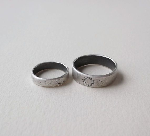 Sterling Silver Sun And Moon Wedding Rings By Bristorium Jewelry Delicate Yet Rustic Unique