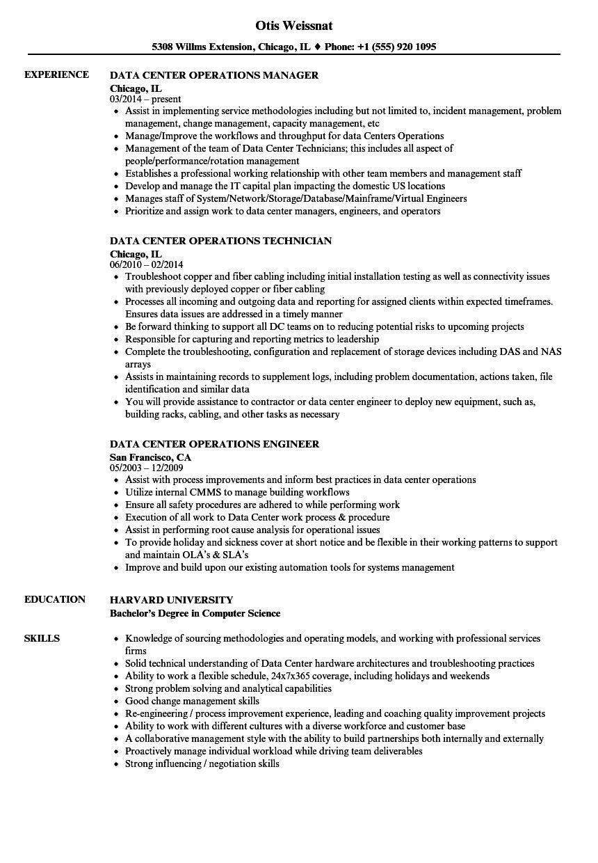 Data center operations resume samples velvet jobs for