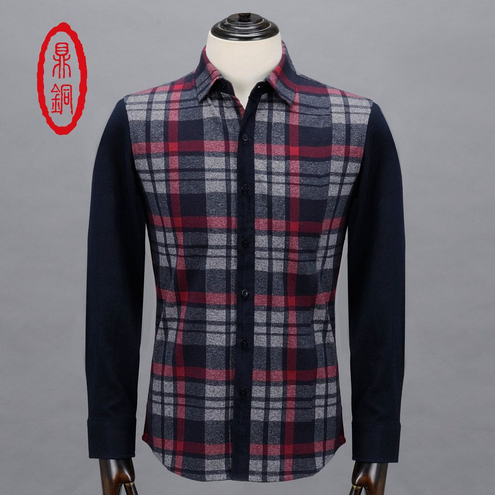 Purple flannel men  DINGTONG Menus Top Brand  Cotton Casual Plaid Shirts Man Single