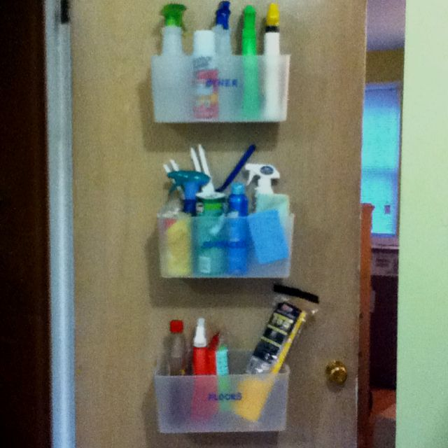 Another Pinner Said: My Version Of A Cleaning Supply Organizer I Saw On  Pinterest   Screwed Dollar Store Bins Onto Door And Labeled: Surfaces, Floou2026