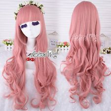 Stylish Long Curly Pink Anime Fashion Style Lady Cosplay Hair Full Wig+ Wig Cap