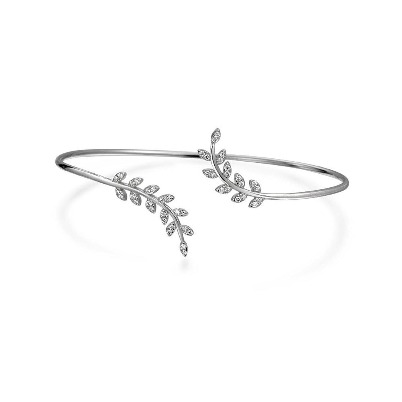 sterling silver leafdesign stackable bangle bracelet set with