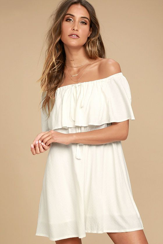 2b651ae742a82 The Melodic White Off-the-Shoulder Shift Dress is like music to our ears!  This dreamy woven number features a drawstring