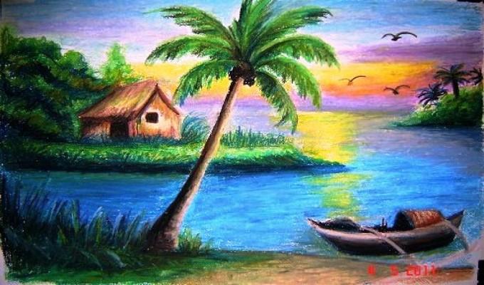 صور رسم منظر طبيعي مناظر طبيعية Oil Pastel Colours Oil Pastel Landscape