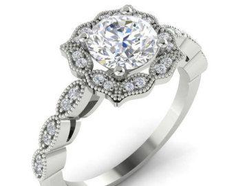 Moissanite Engagement Ring Set Diamond Wedding Set by GNGJewel