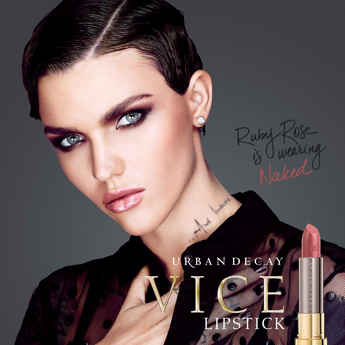 Ruby Rose wears Urban Decay's Vice lipstick in Naked