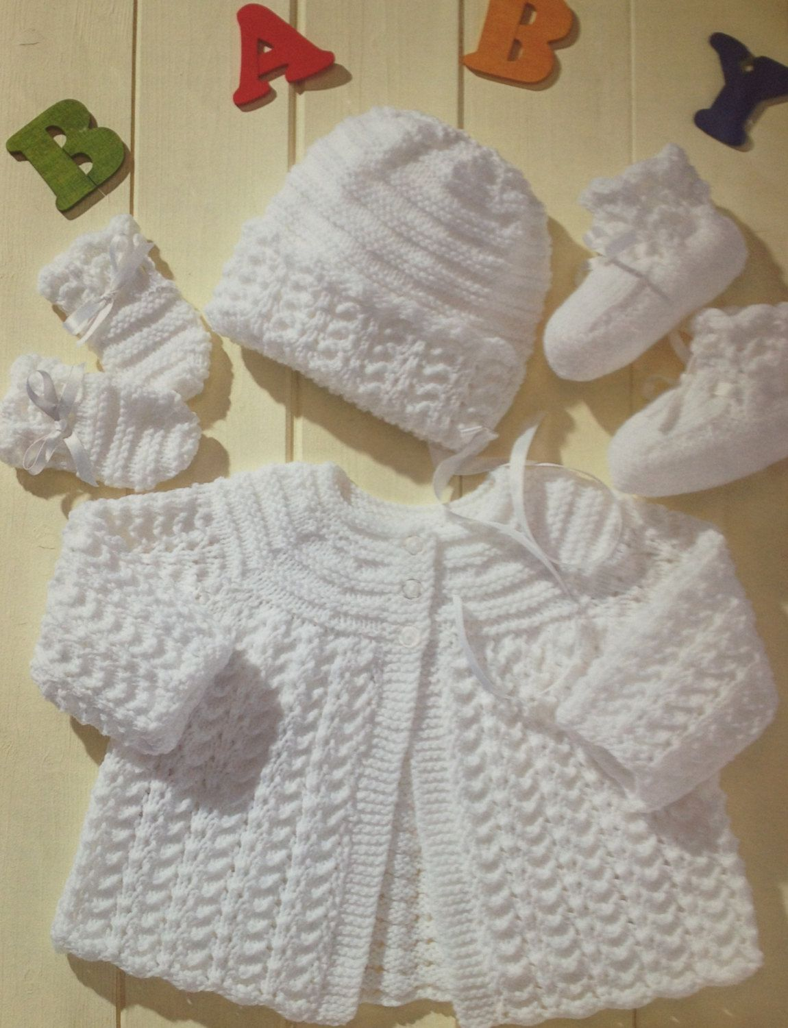 Baby knitting pattern vintage matinee coat bonnet booties mittens in ...