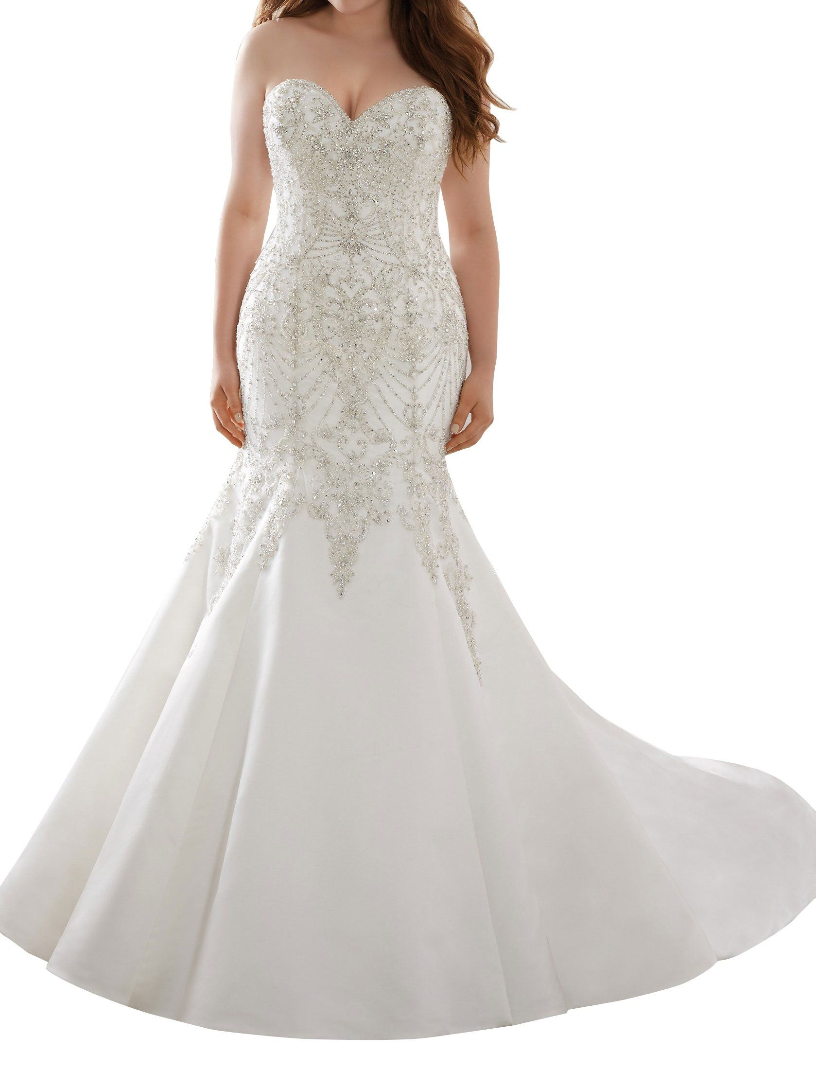 Mella ivory wedding dress for bride fit and flare sweetheart