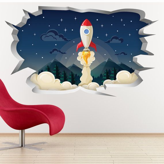 Rocket Take Off Wall Hole Print Children S Bedroom Wall Etsy Childrens Bedrooms Bedroom Wall Wall