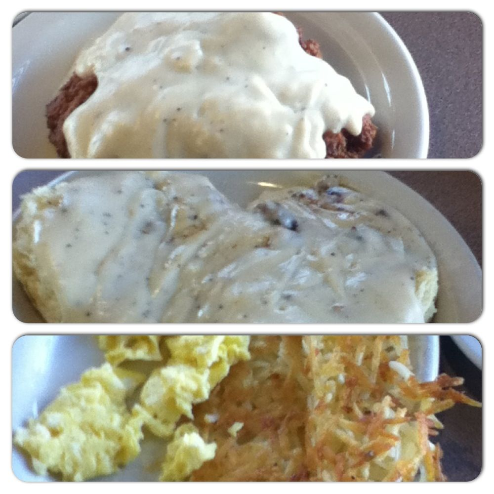 Chicken Fried Steak, Biscuits 'n Gravy, Scrambled Eggs 'n Hash Browns. @ Good Gravy Diner.