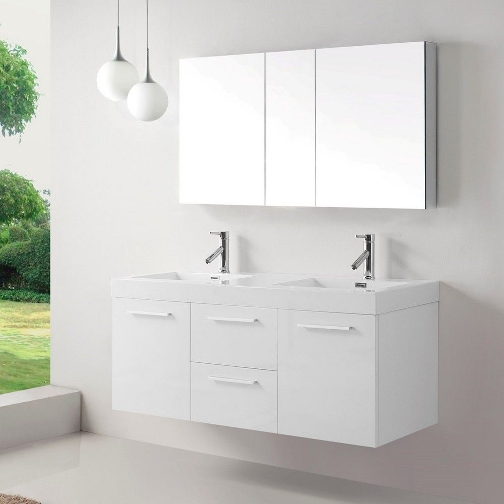 54 inch Double Sink White Bathroom Vanity, ultra-modern vanity http://