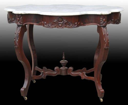 Walnut Marble Topped Table C 1880