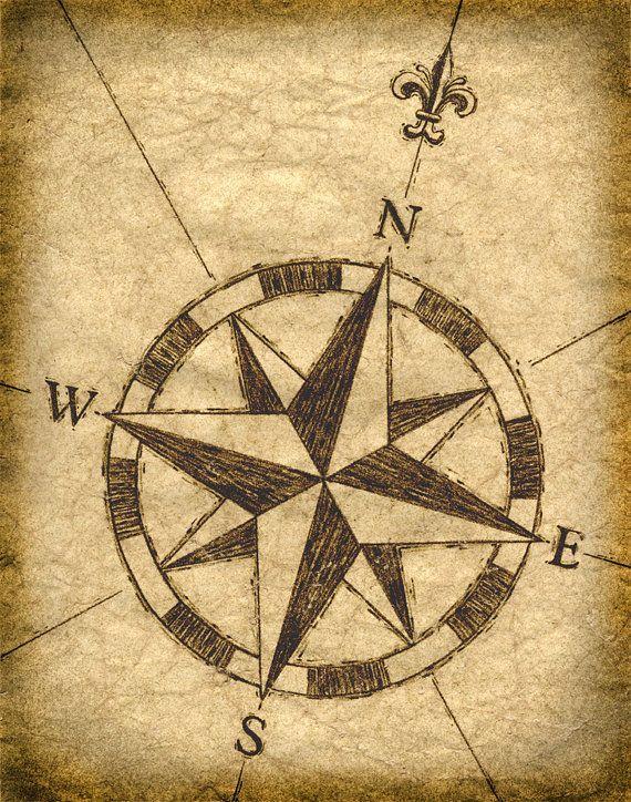 Compass Rose Artwork Old Maps Treasure Sailing Parchement Paper Sepia Prints Vintage Nautical Design Art Print