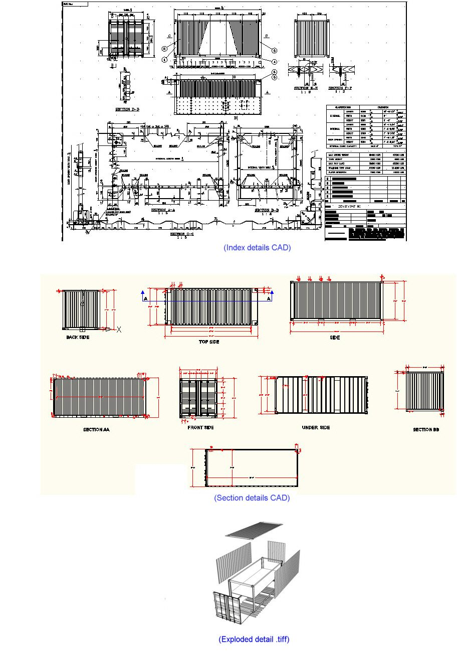 ISO Shipping Container CAD Architectural Drawings.