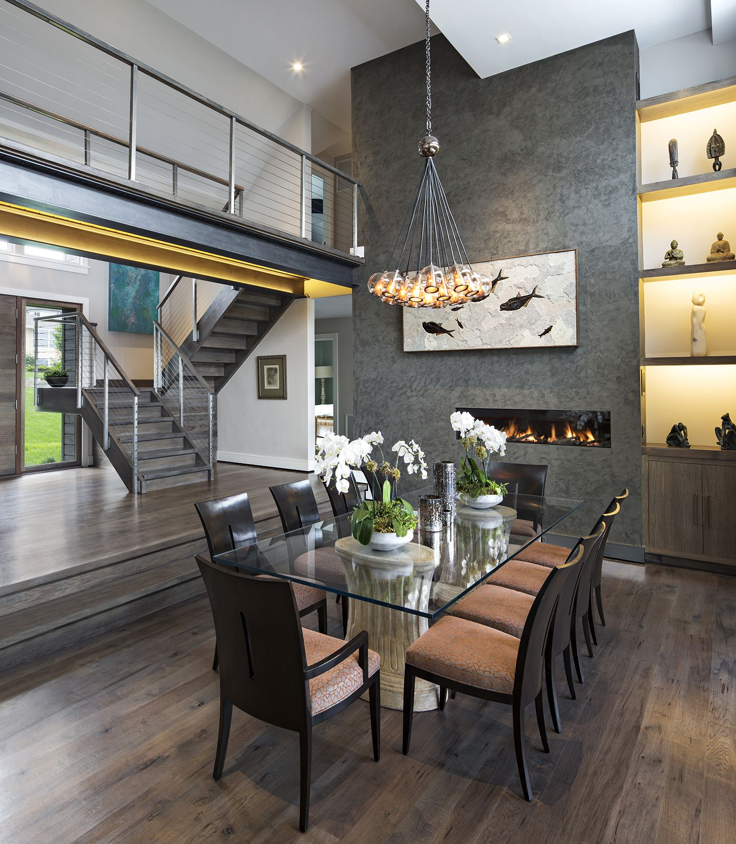 Dining Area Dining Room Double Height Space Modern Waterfront Home