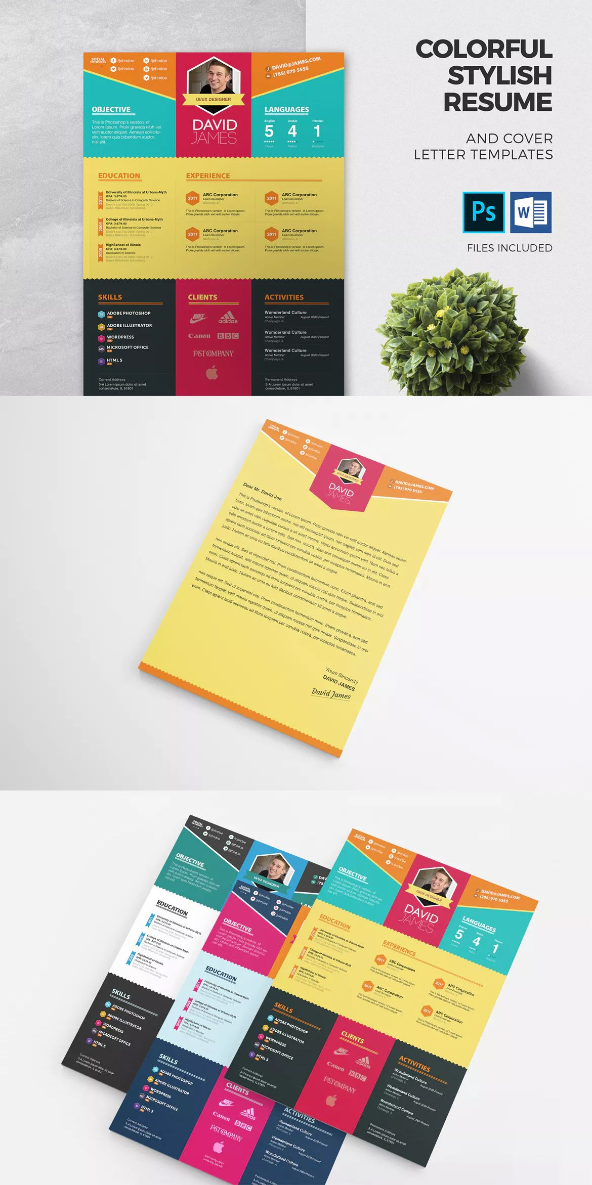 Colorful Stylish Resume and Cover Letter Template PSD