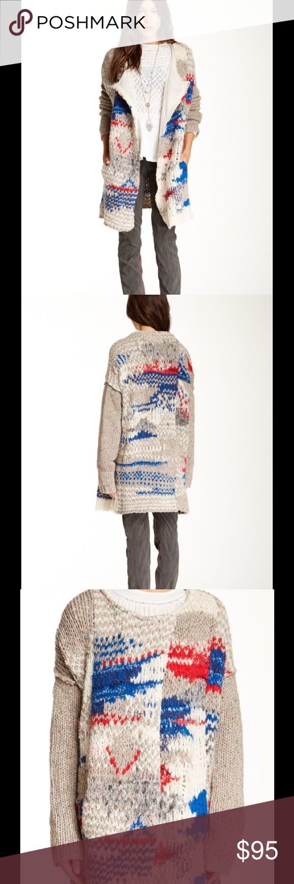 "🆕 Free People Fireworks Chunky Cardigan - Crew neck  - Long sleeves  - Front hidden snap closure  - 2 front slash pockets  - Knit construction  - Lined  - Approx. 31 1/2"" length  - Imported  Fiber Content 46% wool, 37% acrylic, 9% silk, 5% nylon, 1% spandex, 1% alpaca, 1% other fibers  Care Hand wash  Fit: this style fits true to size.  Brand new with tag. Retail price $298. Free People Sweaters Cardigans"