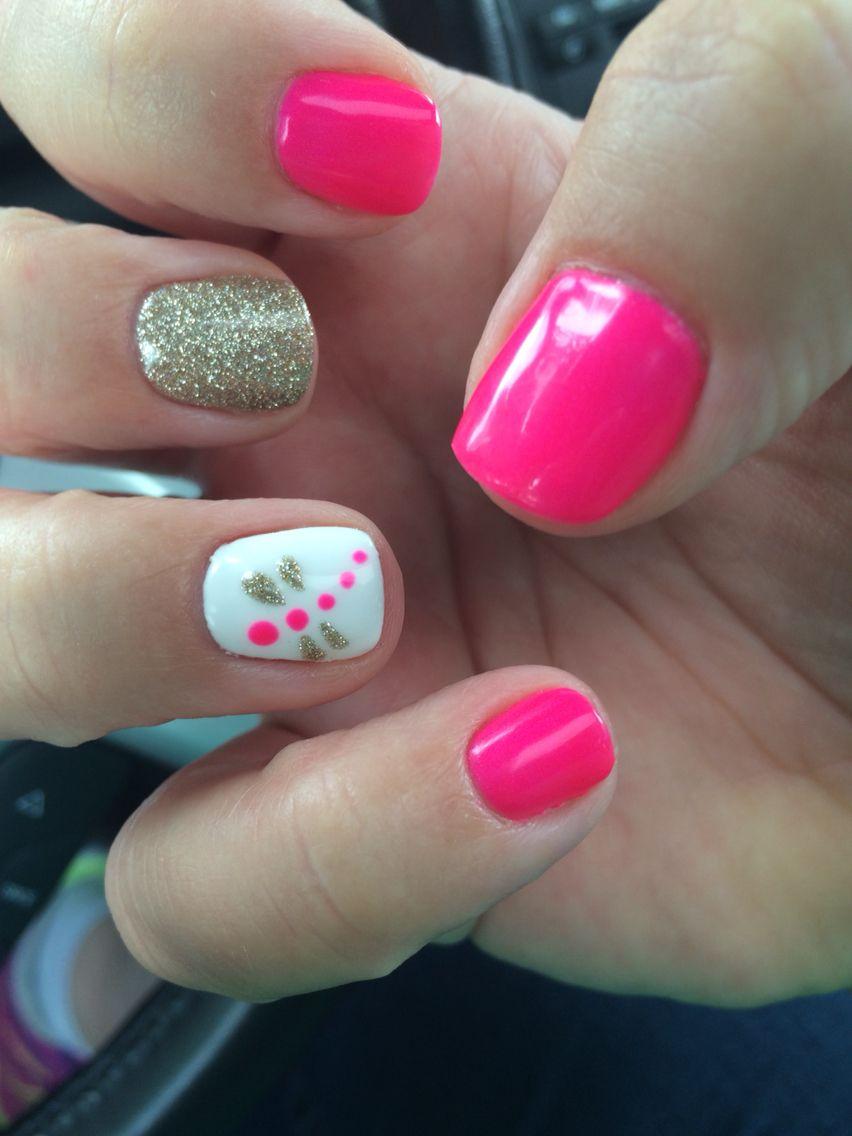 Revived Skin Nails Summer Nails Marissa Dragonfly Hot Pink