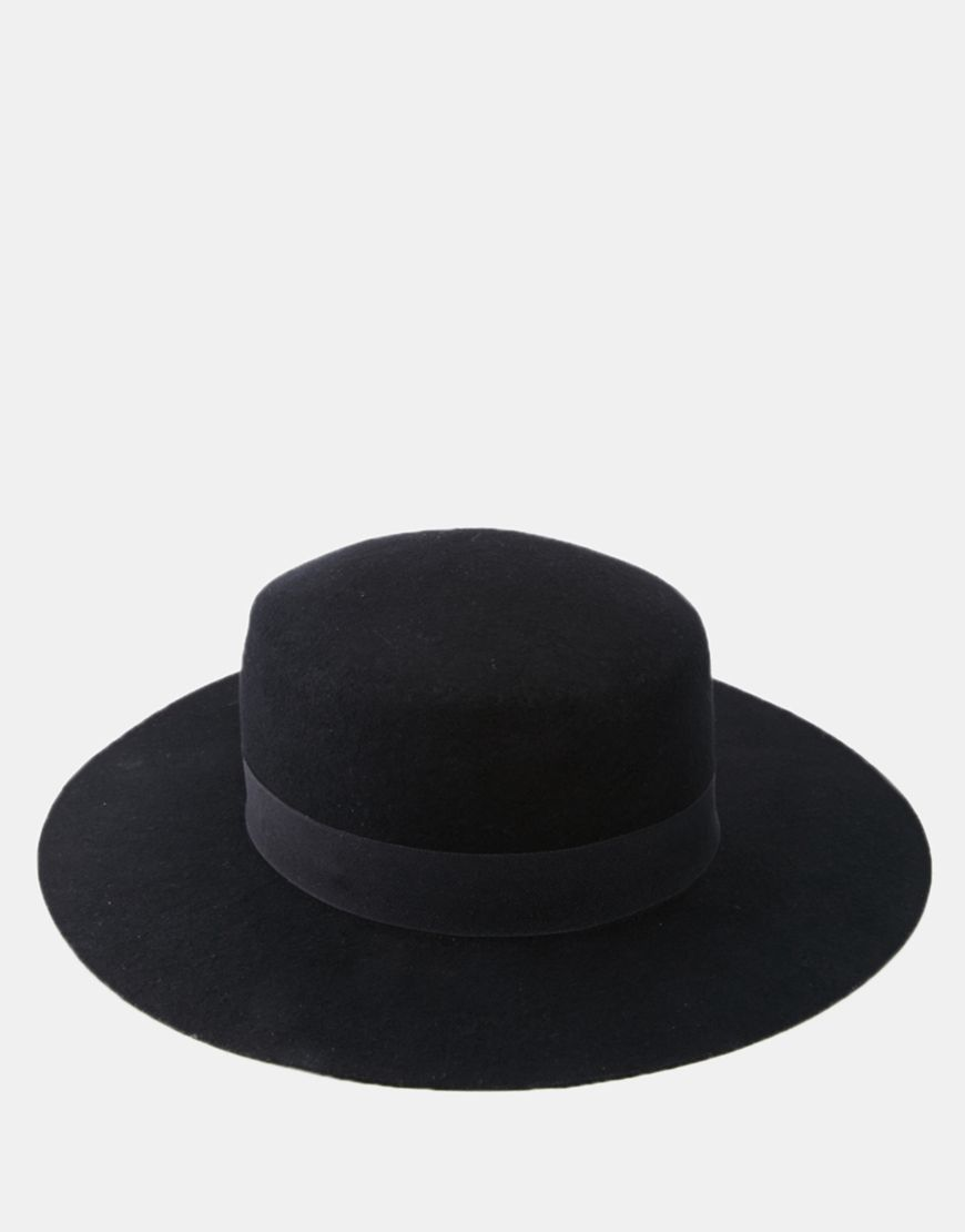 0a9e6a9ae55 ASOS Flat Top Hat In Black Felt With Wide Brim