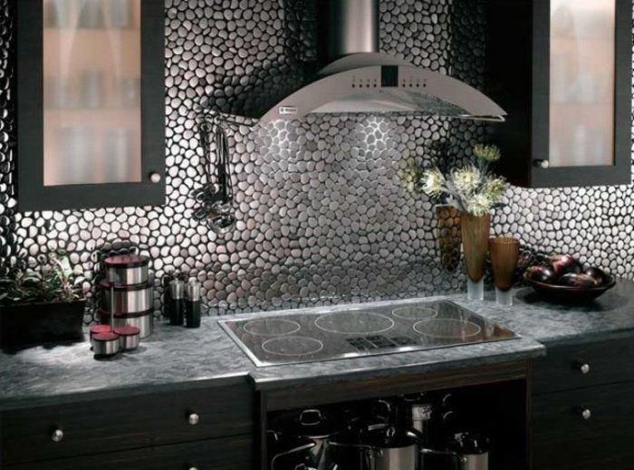 küchenspiegel küchenrückwand fliesen flusssteine optik - fliesen für küchenwand