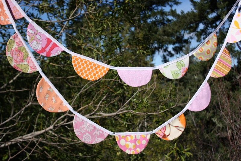 Very Long Orange and Pink SCALLOPS Bunting Flag Garland.  Features Large Fabric Pennants.  Designer's Choice, Surprise Banner.. $42.00, via Etsy.