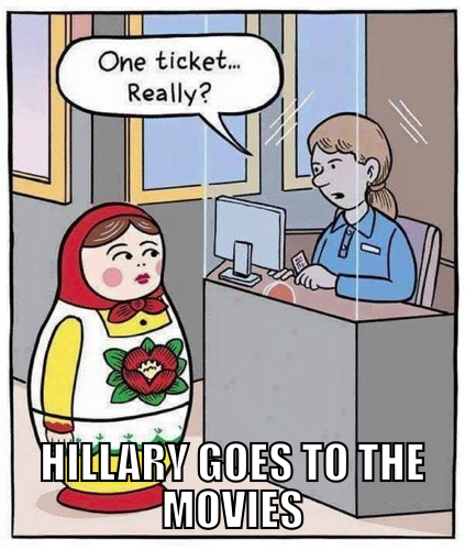 Hillary Clinton goes to the movies.