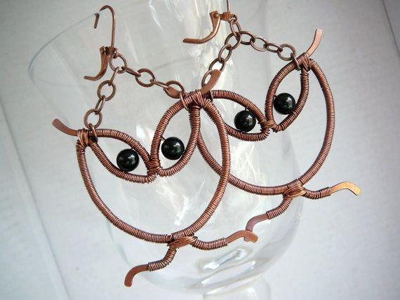 wirework owl earrings by cleopatrakerckhof on etsy