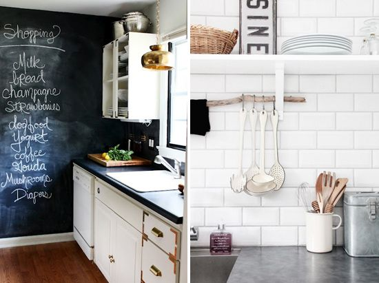 Chalkboard wall and subway tiles