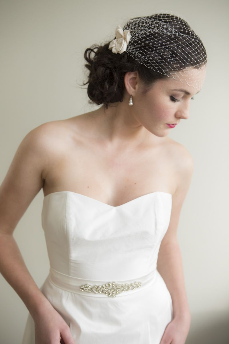 Our Delectable Birdcage Veil With Alabaster Dress By Sophie Voon