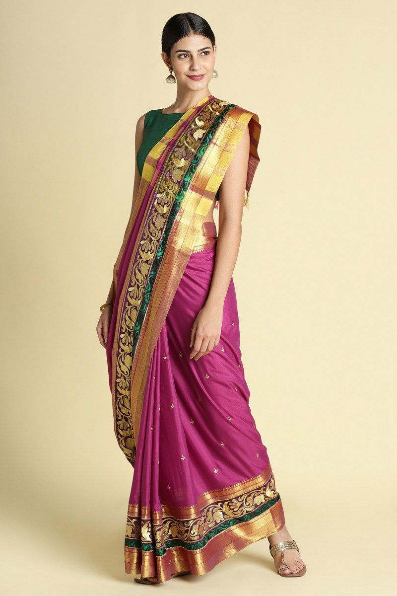 1452207ef26e4c Buy Craftsvilla Pink Color Poly Cotton Saree With Traditional Double Zari  Border Work And Unstitched Blouse