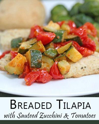 Breaded Tilapia with Sauteed Zucchini & Tomatoes | 5DollarDinners.com
